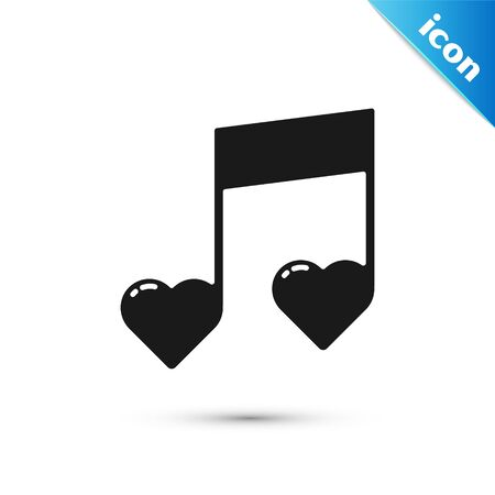 Black Music note, tone with hearts icon isolated on white background. Valentines day. Vector Illustration
