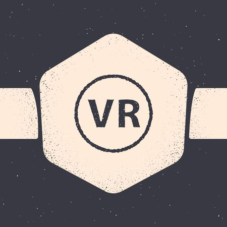 Grunge Virtual reality glasses icon isolated on grey background. Stereoscopic 3d vr mask. Monochrome vintage drawing. Vector Illustration