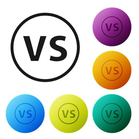 Black  Versus battle icon isolated on white background. Competition vs match game, martial battle vs sport. Set icons colorful circle buttons. Vector Illustration 向量圖像