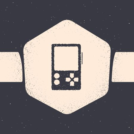 Grunge Portable video game console icon isolated on grey background. Gamepad sign. Gaming concept. Monochrome vintage drawing. Vector Illustration 矢量图像