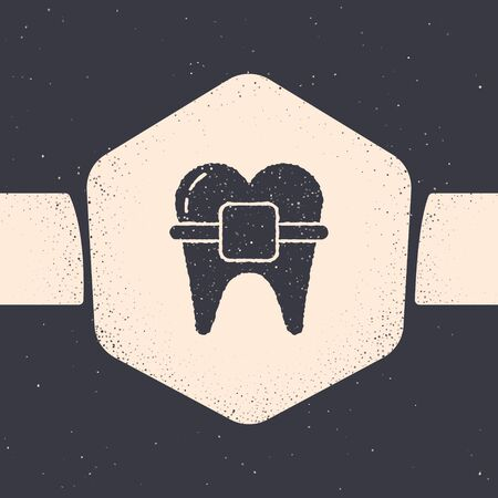 Grunge Teeth with braces icon isolated on grey background. Alignment of bite of teeth, dental row with with braces. Dental concept. Monochrome vintage drawing. Vector Illustration