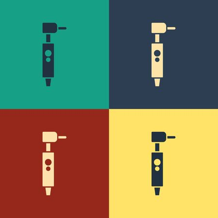 Color Tooth drill icon isolated on color background. Dental handpiece for drilling and grinding tools. Vintage style drawing. Vector Illustration