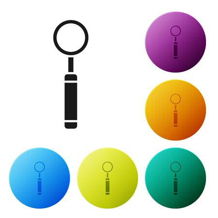 Black Dental inspection mirror icon isolated on white background. Tool dental checkup. Set icons colorful circle buttons. Vector Illustration