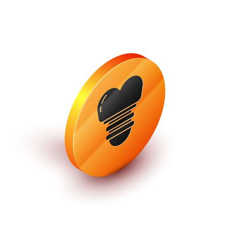 Isometric Dental implant icon isolated on white background. Orange circle button. Vector Illustration