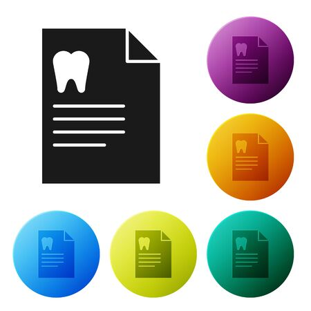 Black Clipboard with dental card or patient medical records icon isolated on white background. Dental insurance. Dental clinic report. Set icons colorful circle buttons. Vector Illustration