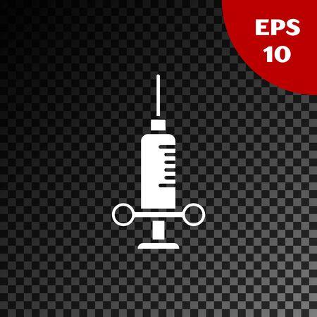 White Dental medical syringe with needle icon isolated on transparent dark background. Vector Illustration