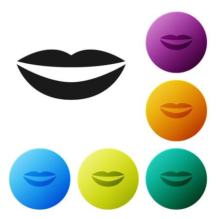 Black Smiling lips icon isolated on white background. Smile symbol. Set icons colorful circle buttons. Vector Illustration