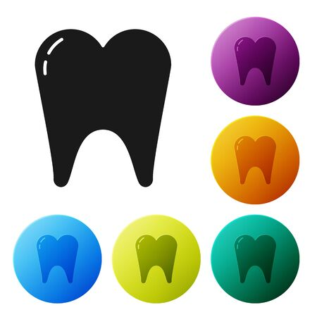 Black Tooth icon isolated on white background. Tooth symbol for dentistry clinic or dentist medical center and toothpaste package. Set icons colorful circle buttons. Vector Illustration Vector Illustration