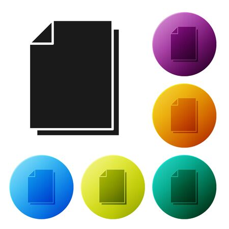 Black Document icon isolated on white background. File icon. Checklist icon. Business concept. Set icons colorful circle buttons. Vector Illustration Vecteurs