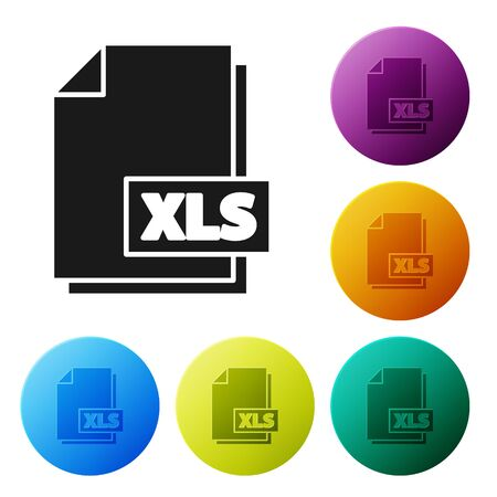 Black XLS file document. Download xls button icon isolated on white background. Excel file symbol. Set icons colorful circle buttons. Vector Illustration