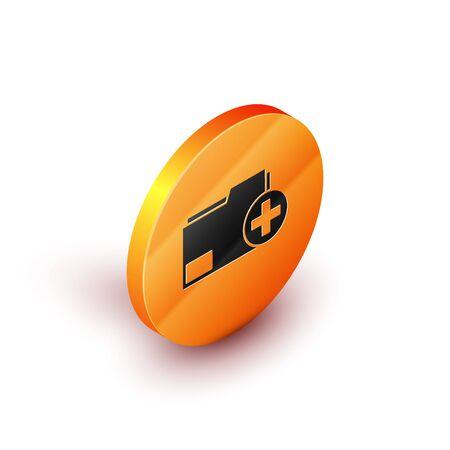 Isometric Add new folder icon isolated on white background. New folder file. Copy document icon. Add attach create folder make new plus. Orange circle button. Vector Illustration