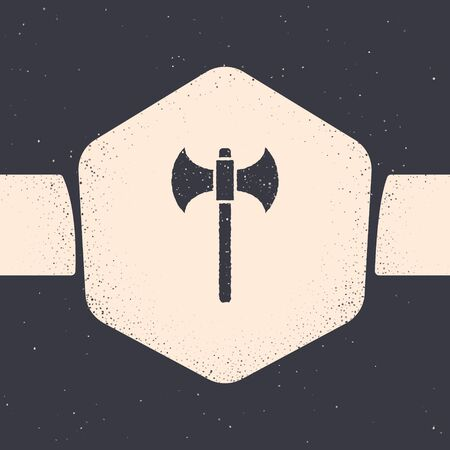 Grunge Medieval axe icon isolated on grey background. Battle axe, executioner axe. Monochrome vintage drawing. Vector Illustration