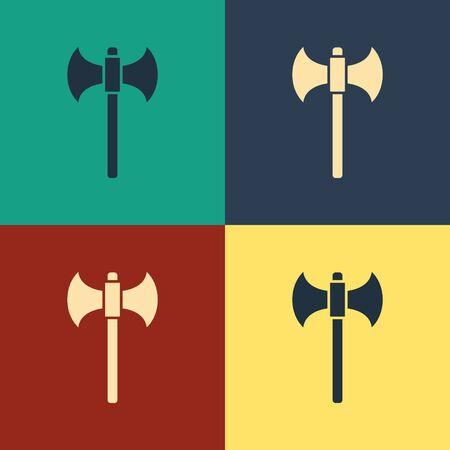 Color Medieval axe icon isolated on color background. Battle axe, executioner axe. Vintage style drawing. Vector Illustration