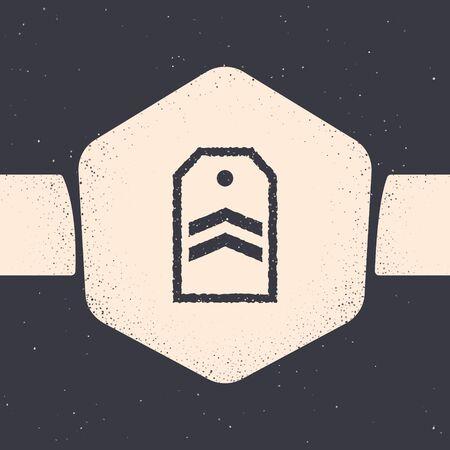 Grunge Chevron icon isolated on grey background. Military badge sign. Monochrome vintage drawing. Vector Illustration Illustration
