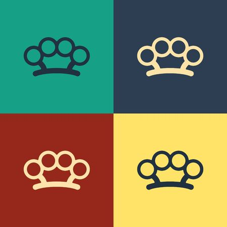 Color Brass knuckles icon isolated on color background. Vintage style drawing. Vector Illustration