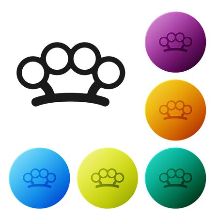 Black Brass knuckles icon isolated on white background. Set icons colorful circle buttons. Vector Illustration Archivio Fotografico - 137314475