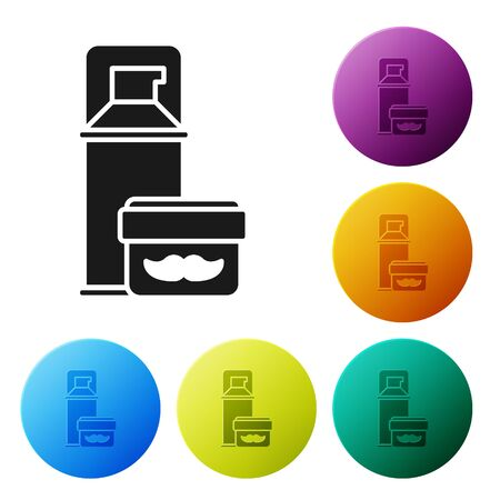 Black Shaving gel foam icon isolated on white background. Shaving cream. Set icons colorful circle buttons. Vector Illustration