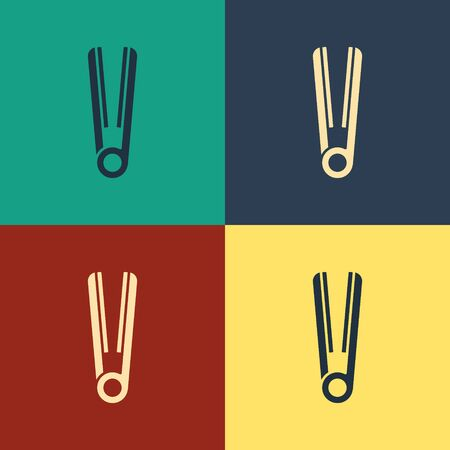 Color Curling iron for hair icon isolated on color background. Hair straightener icon. Vintage style drawing. Vector Illustration