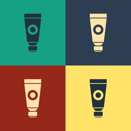Color Cream or lotion cosmetic tube icon isolated on color background. Body care products for men. Vintage style drawing. Vector Illustration