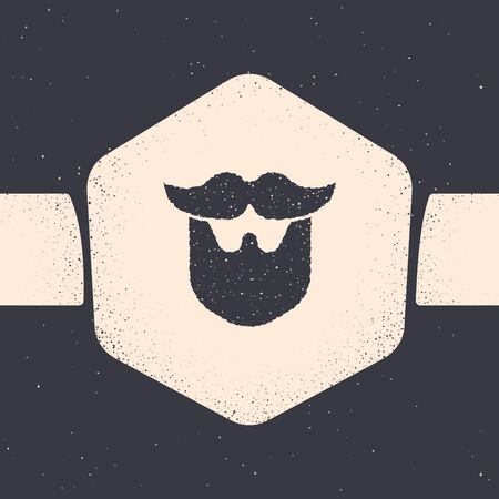 Grunge Mustache and beard icon isolated on grey background. Barbershop symbol. Facial hair style. Monochrome vintage drawing. Vector Illustration 일러스트