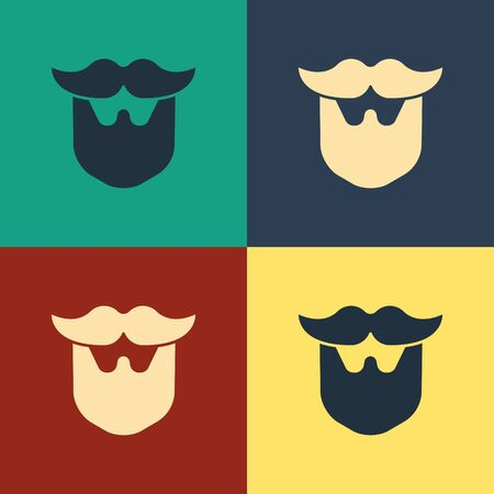 Color Mustache and beard icon isolated on color background. Barbershop symbol. Facial hair style. Vintage style drawing. Vector Illustration 일러스트