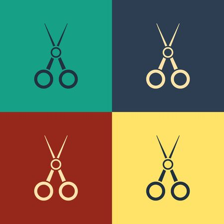 Color Scissors hairdresser icon isolated on color background. Hairdresser, fashion salon and barber sign. Barbershop symbol. Vintage style drawing. Vector Illustration