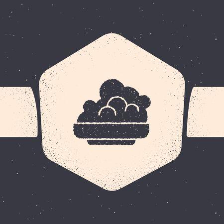Grunge Shaving gel foam icon isolated on grey background. Shaving cream. Monochrome vintage drawing. Vector Illustration Illustration