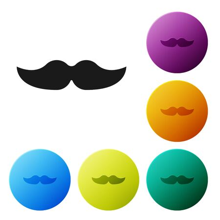 Black Mustache icon isolated on white background. Barbershop symbol. Facial hair style. Set icons colorful circle buttons. Vector Illustration