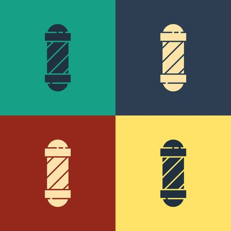 Color Classic Barber shop pole icon isolated on color background. Barbershop pole symbol. Vintage style drawing. Vector Illustration 向量圖像
