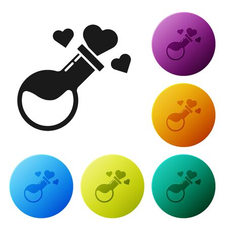 Black Bottle with love potion icon isolated on white background. Valentines day symbol. Set icons colorful circle buttons. Vector Illustration Illustration