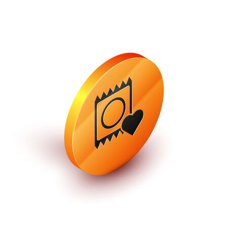 Isometric Condom in package icon isolated on white background. Safe love symbol. Contraceptive method for male. Orange circle button. Vector Illustration