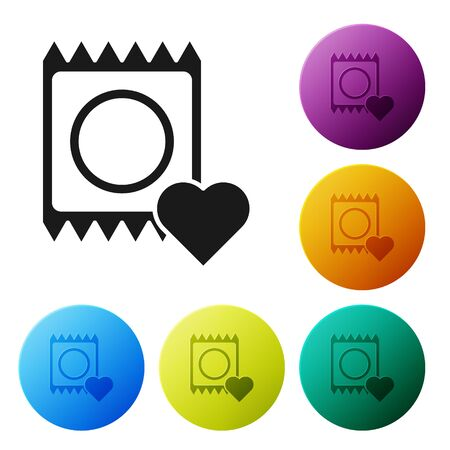 Black Condom in package icon isolated on white background. Safe love symbol. Contraceptive method for male. Set icons colorful circle buttons. Vector Illustration Ilustrace