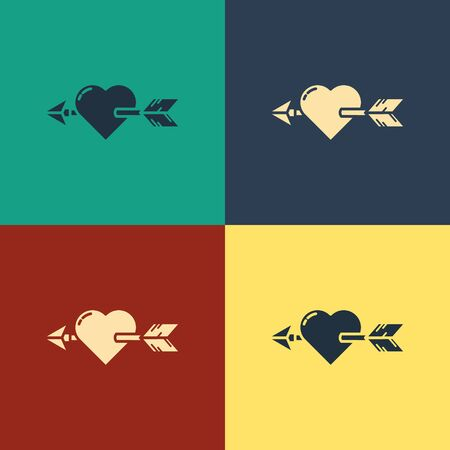 Color Amour symbol with heart and arrow icon isolated on color background. Love sign. Valentines symbol. Vintage style drawing. Vector Illustration Vector Illustration