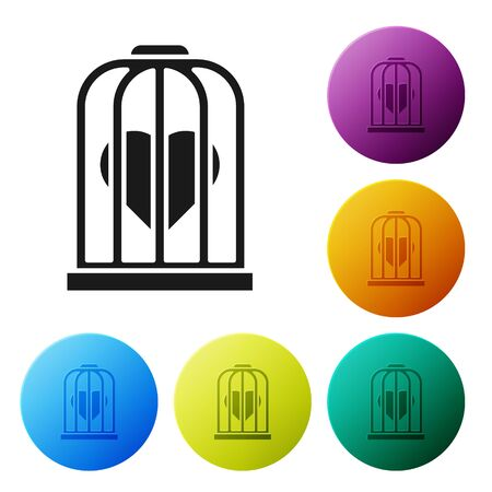 Black Heart in the bird cage icon isolated on white background. Love sign. Valentines symbol. Set icons colorful circle buttons. Vector Illustration Ilustração