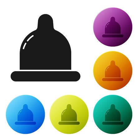 Black Condom icon isolated on white background. Safe love symbol. Contraceptive method for male. Set icons colorful circle buttons. Vector Illustration