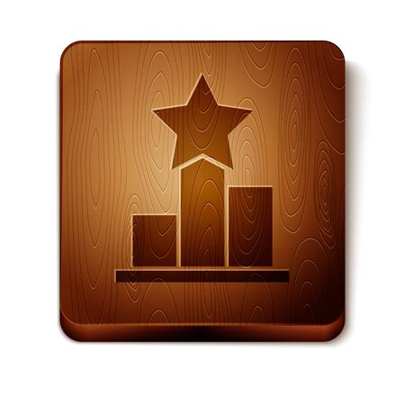 Brown Star icon isolated on white background. Favorite, score, best rating, award symbol. Wooden square button. Vector Illustration