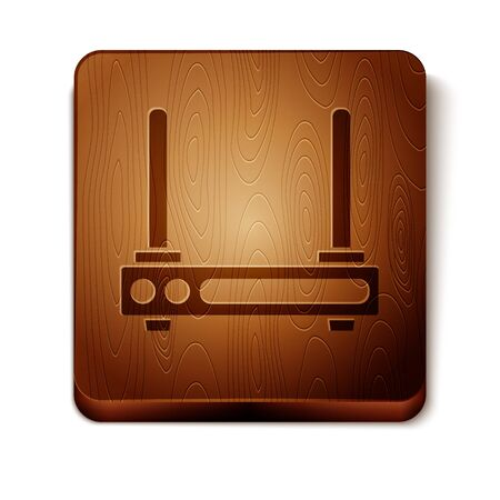 Brown Router and wifi signal symbol icon isolated on white background.