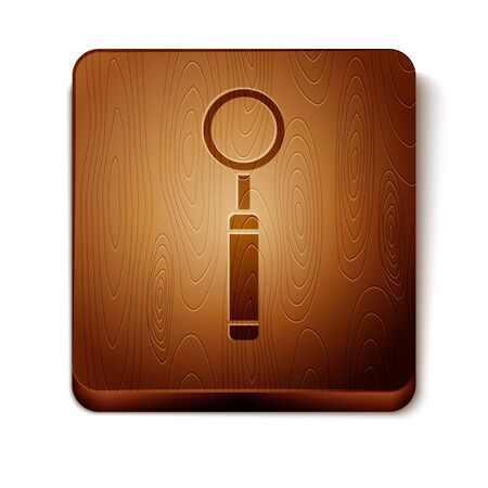 Brown Dental inspection mirror icon isolated on white background. Tool dental checkup. Wooden square button. Vector Illustration