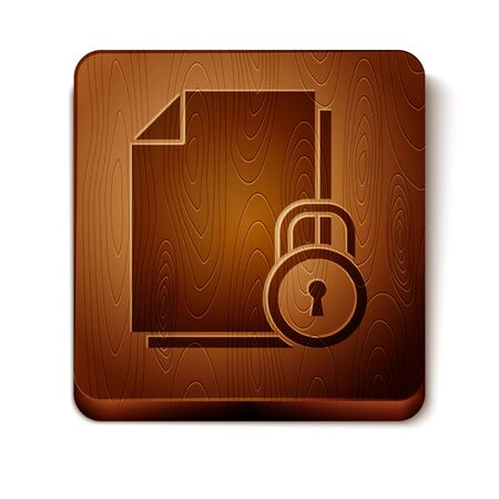 Brown Document and lock icon isolated on white background. File format and padlock. Security, safety, protection concept. Wooden square button. Vector Illustration
