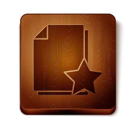 Brown Document with star icon isolated on white background. Document best, favorite, rating symbol. Wooden square button. Vector Illustration