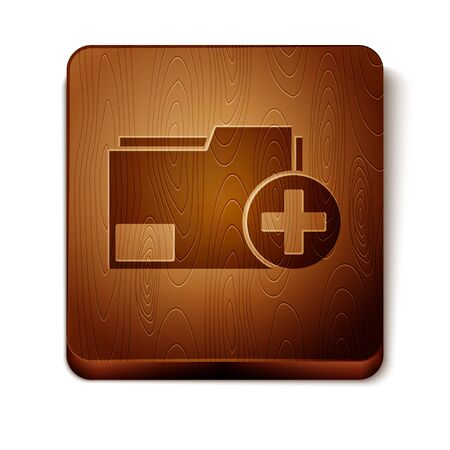 Brown Add new folder icon isolated on white background. New folder file. Copy document icon. Add attach create folder make new plus. Wooden square button. Vector Illustration