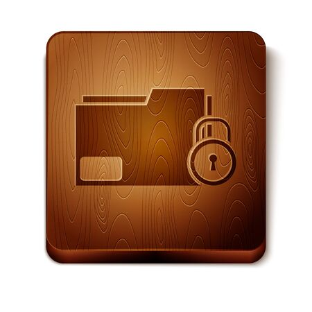 Brown Folder and lock icon isolated on white background. Closed folder and padlock. Security, safety, protection concept. Wooden square button. Vector Illustration Illusztráció
