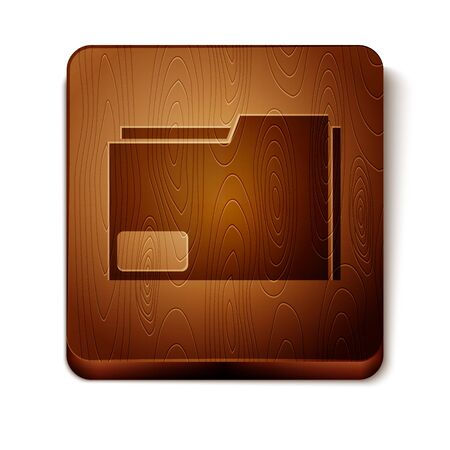 Brown Document folder icon isolated on white background. Accounting binder symbol. Bookkeeping management. Wooden square button. Vector Illustration