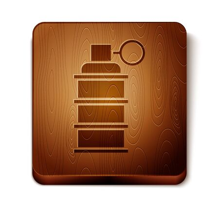 Brown Hand grenade icon isolated on white background. Bomb explosion. Wooden square button. Vector Illustration