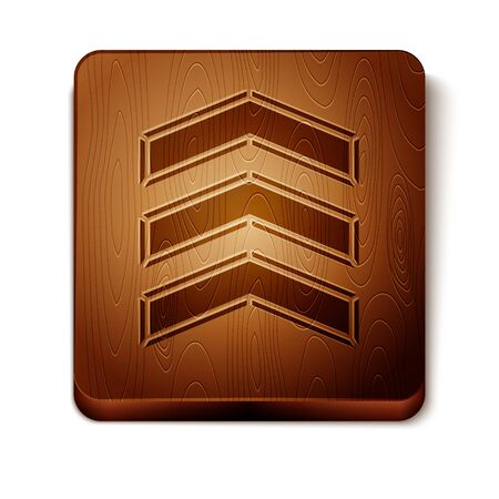 Brown Military rank icon isolated on white background. Military badge sign. Wooden square button. Vector Illustration Illusztráció