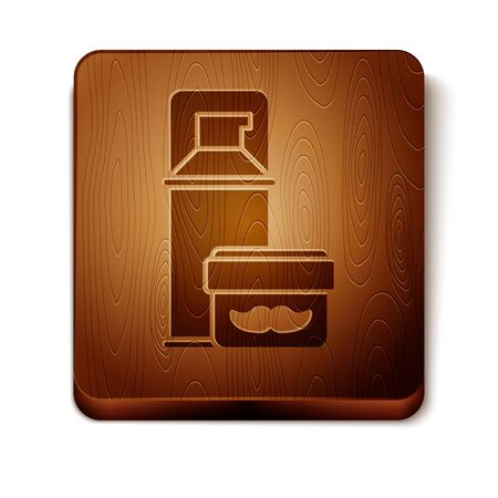 Brown Shaving gel foam icon isolated on white background. Shaving cream. Wooden square button. Vector Illustration