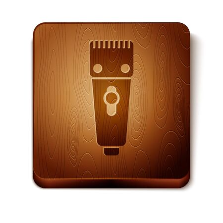 Brown Electrical hair clipper or shaver icon isolated on white background. Barbershop symbol. Wooden square button. Vector Illustration