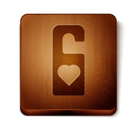 Brown Please do not disturb with heart icon isolated on white background. Hotel Door Hanger Tags. Wooden square button. Vector Illustration