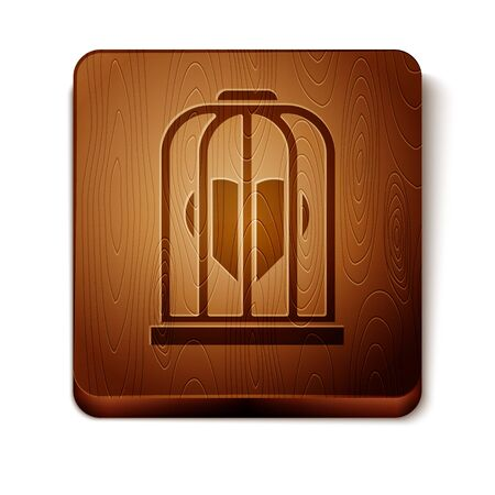 Brown Heart in the bird cage icon isolated on white background. Love sign. Valentines symbol. Wooden square button. Vector Illustration