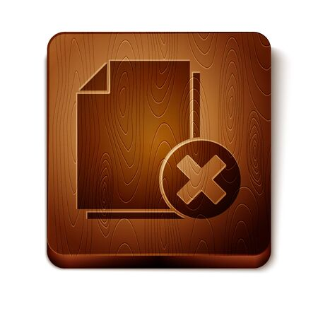 Brown Delete file document icon isolated on white background. Rejected document icon. Cross on paper. Wooden square button. Vector Illustration Illusztráció